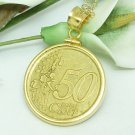 Italy 50 cent 2002 Euro Coin Pendant 14 kt Gold Filled Bezel Coin jewelry