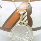 Buffalo Nickel 1936 Coin Pendant 14kt Gold Filled Chain Necklace Coin jewelry