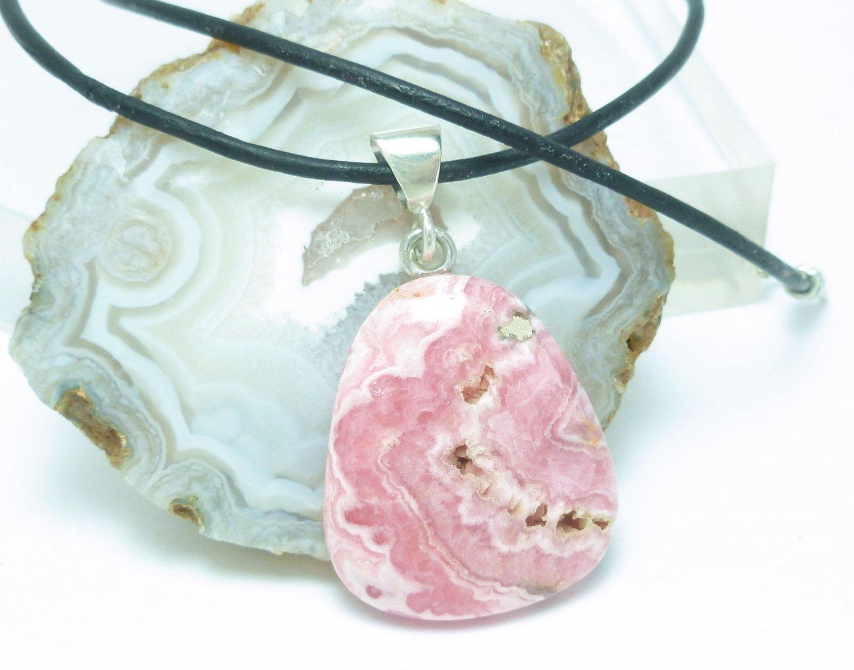 Pink Rhodocrosite Natural Gemstone Sterling Pendant Black Leather Cord Artisan Jewelry