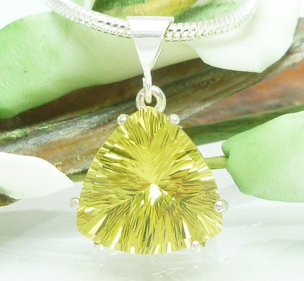Lemon Quartz Quantum Trillion Sterling Pendant Necklace Artisan Jewelry