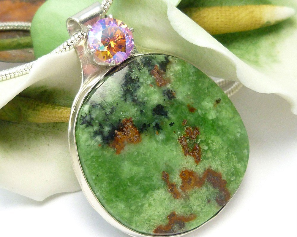 Natural Serpentine Gemstone Round Sterling Pendant Artisan Jewelry