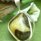 Utah Septarian Cabochon Gemstone Sterling Moon Crescent Pendant Artisan Jewelry