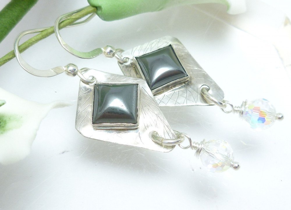 Square Hematite Gemstone Fine Silver Dangle Crystal Earrings