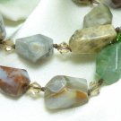 Ocean Jasper Polished Faceted Beaded Necklace Artisan Jewelry