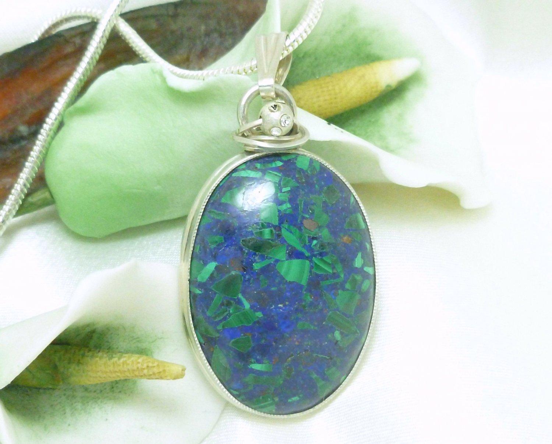 Malachite In Lapis Lazuli Gemstone Sterling Oval Pendant Necklace Artisan Jewelry