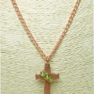 Hammered Copper Metal Cross Pendant Green Crystals 18 inch Necklace
