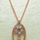 Copper Metal Hammered Cross Oval Pendant Blue Swarovski Crystals Artisan Jewelry