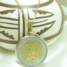 Mexican 5 Nuevo Peso Coin Pendant 14kt Gold Filled Chain Necklace