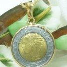500L Italian 1988 Coin Bi-Metallic Pendant Necklace 14 kt GF Bezel