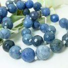 Natural Sunset Dumortierite Round Gemstone Beaded Necklace Blue 20 inch