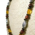 Red Tiger Eye Smoky Quartz Topaz Golden Crystal Sterling Necklace Artisan Jewelry