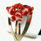 Candy Cane Red White Beaded Christmas Silver Heart Hair Clip 45mm