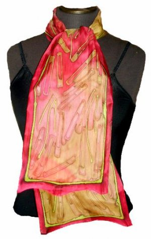 Magenta Hand Painted Silk  Neckerchief