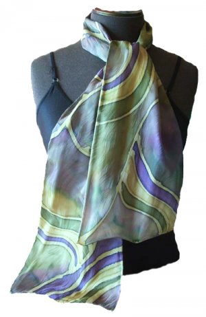 Grape Stripe Hand Painted Silk Neckerchief