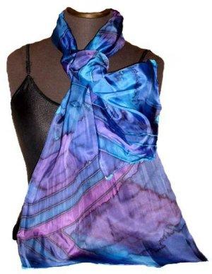 Blue Stripe Hand Painted Silk Oblong