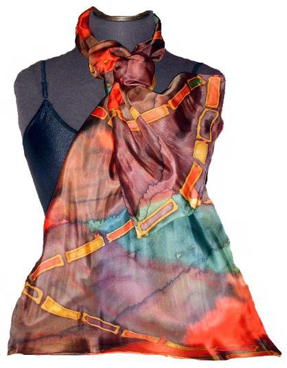 Jewel Hand Painted Silk Oblong