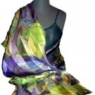 Mauve Leaf Hand Painted Silk Shawl