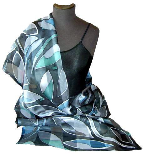 Ebony Leaf Hand Painted Silk Shawl
