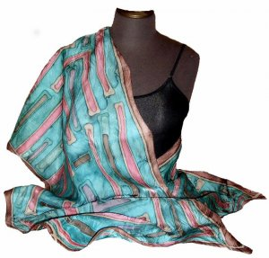 Soft Blue Hand Painted Silk Jacquard Shawl