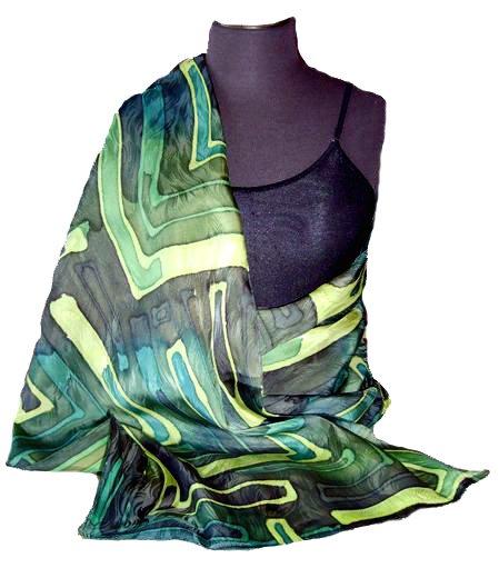 Emerald Green Hand Painted Silk Jacquard Shawl