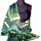Emerald Green Hand Painted Silk Jacquard Shawl