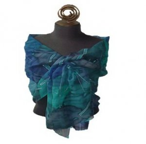 Silver Teal Hand Painted Silk Wrap