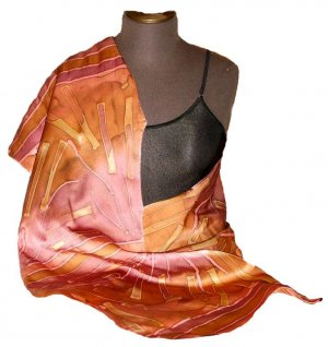 Wine Silk Hand Painted  Silk Shawl