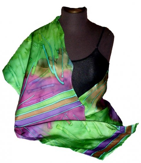 Teal Mix Hand Painted Silk Charmeuse Shawl