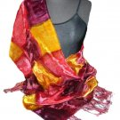 Wine/Gold Hand Painted Velvet Silk Shawl