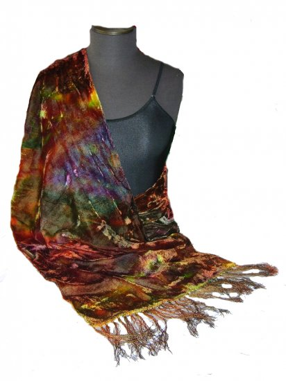 Olive Hand Painted Velvet Silk Shawl