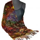 Olive Hand Painted Velvet Silk Shawl