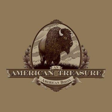 American Treasure Bison T-shirt Unisex S-M-L-XL-2XL NWT Gildan Cotton Tan Tee