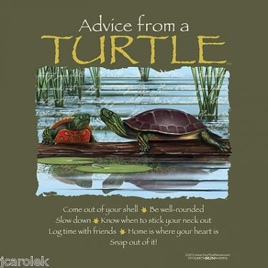 Turtle Tshirt Unisex S-M-L-XL-2XL NWT Tortoise Forest Fun Advice Earth Sun Moon