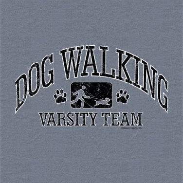 Dog Walker T-shirt Cotton Gray NWT Animal Pet S-M-L-XL-2XL Screen Print Front
