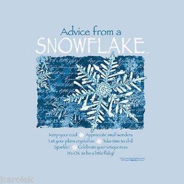 Christmas T-shirt  Snowflake Advice Blue NWT Long Sleeve S M L XL Earth Sun Moon