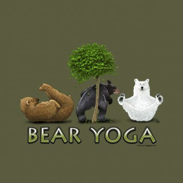 Yoga Bear T-shirt Exercise Gildan Green Short Sleeve 2XL NWT Bears Cotton