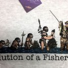 Fishing Fisherman T shirt Evolution Humor Medium Grey New Outdoors Sportsman NWT