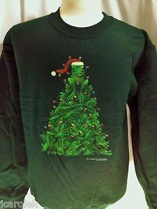 Christmas Sweatshirt Unisex Green Frog Tree Small Cotton Blend Long Sleeve Crew