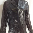 GAP Ladies Black Genuine Leather Jacket Sz S Button Front Motorcyle Fully Lined
