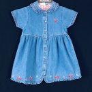 Toddler Girl's Denim Dress Jumper Size M Embroidered Cherry Cherries Blossom NEW