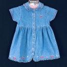 Toddler Girl's Denim Dress Jumper Size L Embroidered Cherry Cherries Blossom NEW