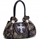 Realtree Studded Camouflage Satchel Bag w/ Rhinestone Cross - Camo/Coffee