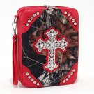 Mossy Oak Camouflage print bible cover w/croco trim and studded cross emblem - Red