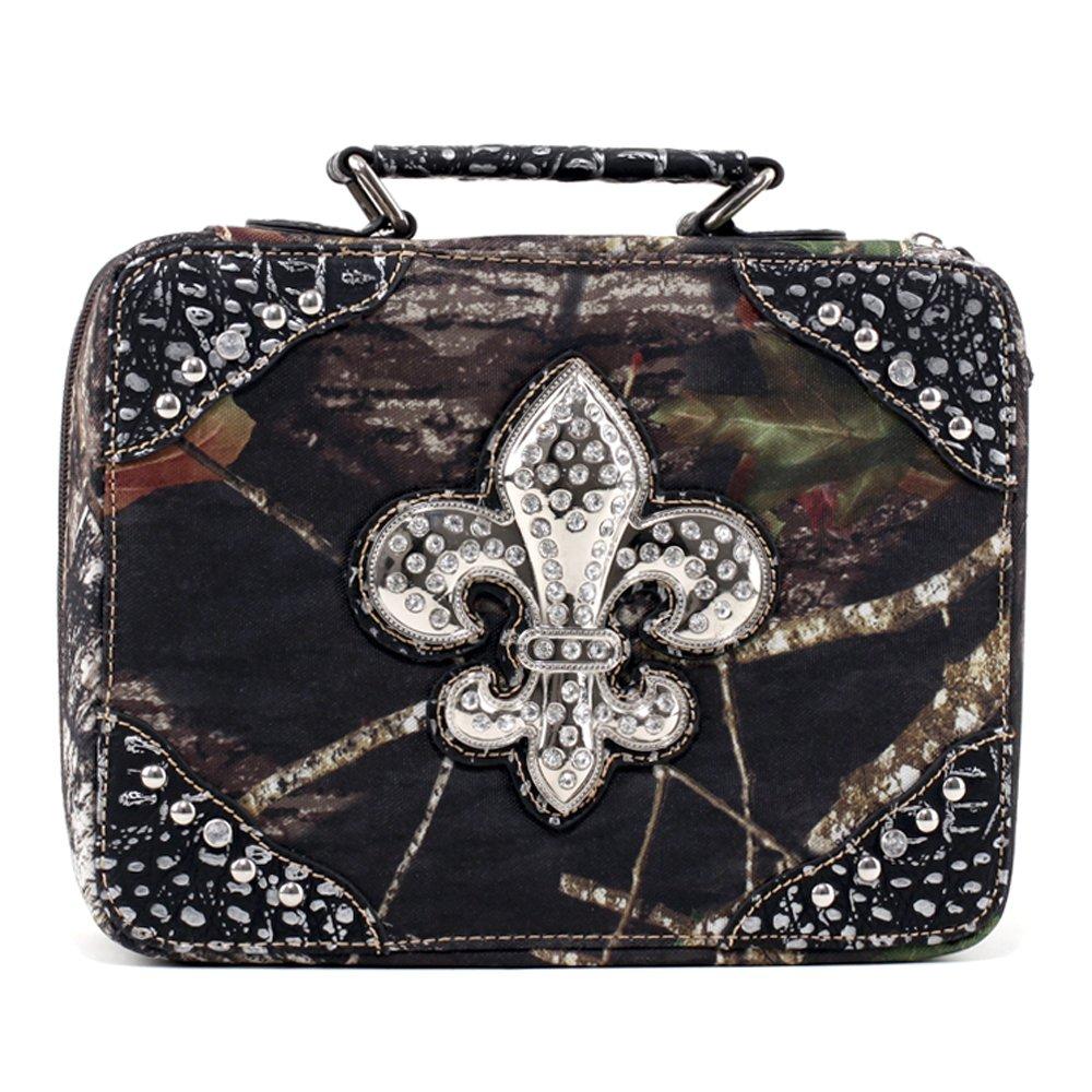 Mossy Oak Studded Camouflage Travel Bag w/ Rhinestone Fleur de Lis & Croco Trim - Camo/Silver