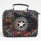 Mossy Oak Studded Camouflage Travel Bag w/ Rhinestone Star & Croco Trim - Camo/Silver