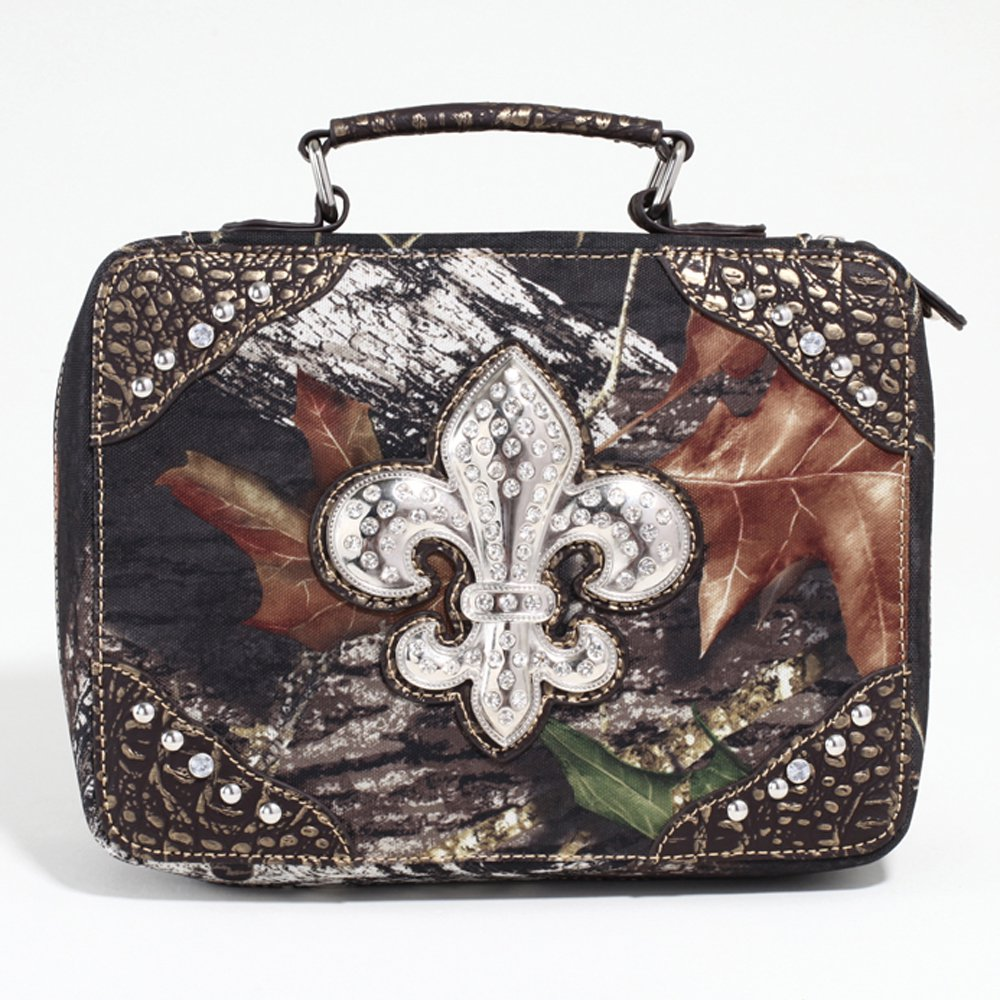 Mossy Oak Studded Camouflage Travel Bag w/ Rhinestone Fleur de Lis & Croco Trim - Camo/Gold