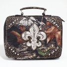 Mossy Oak Studded Camouflage Travel Bag w/ Rhinestone Fleur de Lis & Croco Trim - Camo/Gold