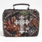 Mossy Oak Studded Camouflage Travel Bag w/ Rhinestone Cross & Croco Trim - Camo/Gold