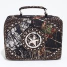 Mossy Oak Studded Camouflage Travel Bag w/ Rhinestone Star & Croco Trim - Camo/Gold