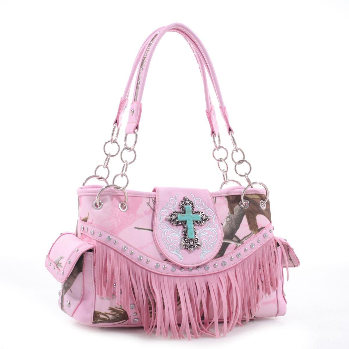 Realtree® Fringed Studded Turquoise Cross Shoulder Bag